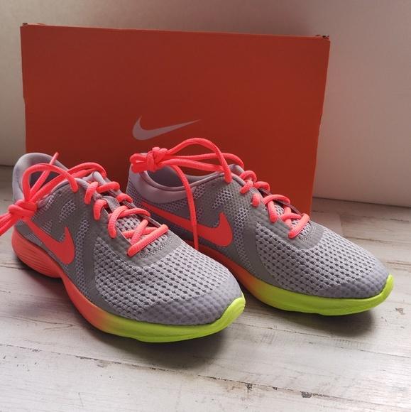 ecbab7ac76770 Nike Revolution 4 Fade Hot Punch Volt Shoes NIB